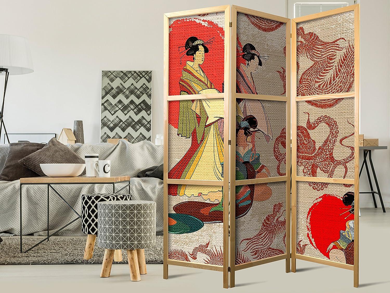 Murando - Paravent Mandala 135x171 cm - - 3-teilig - cm einseitig - eleganter Sichtschutz - Raumteiler - Trennwand - Raumtrenner - Holz - Design Motiv - Deko - Japan p-C-0010-z-b 93f1a2