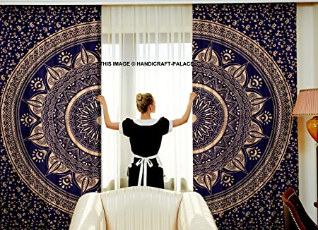 Ombre Mandala Medallion CURTAIN Tribal Boho Hippie Indian Bedroom Tapestry  Decorative Door Window Curtains Blinds Curtains