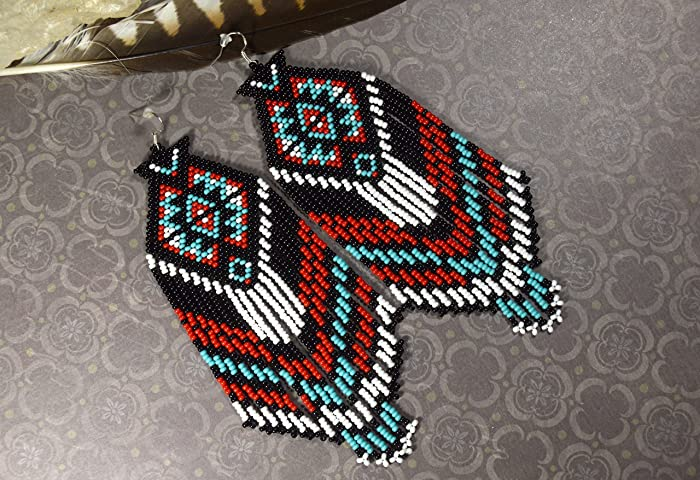 fc0a559f7e94a Amazon.com: Beaded Earrings, Native american earrings, Dangle ...