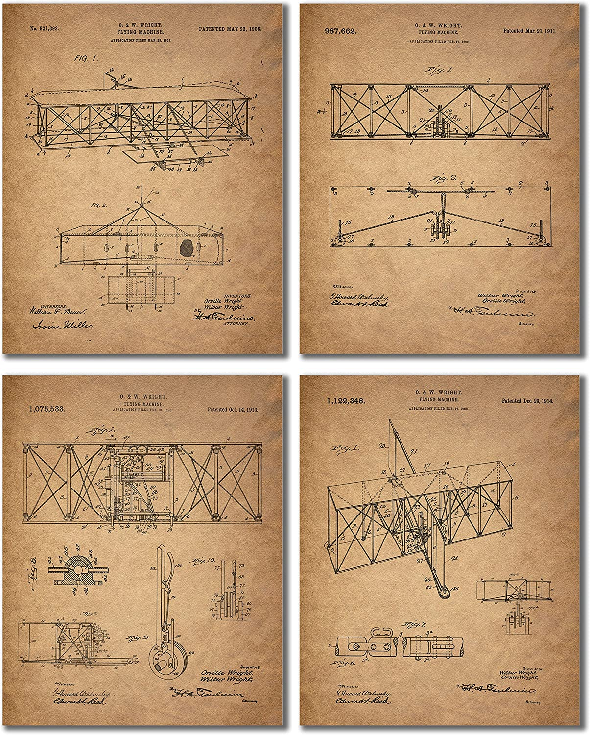 Wright Brothers Patent Prints (8x10 - Set of Four Prints)