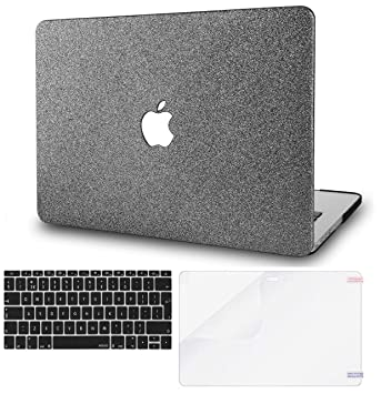 KECC MacBook Pro 13 Case 2019//2018//2017//2016 w// UK Keyboard Cover Plastic Hard Shell A1989//A1706//A1708 Touch Bar Black Grey Marble