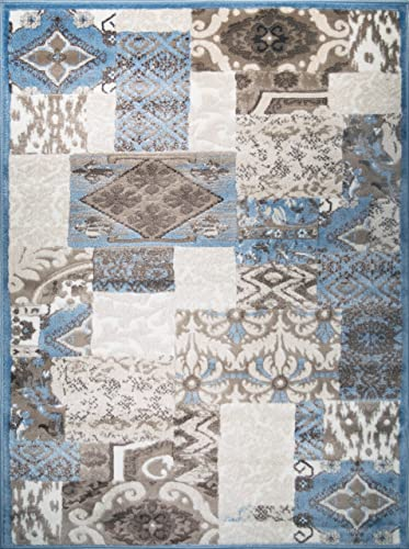 ADGO Hudson Collection Modern Contemporary Patchwork Diamond Damask Bedroom Area Rug, Living Dining Room Blue Ivory, 3 x 5