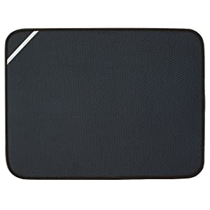 Envision Home 432801 18 24-Inch Microfiber Dish Drying Mat, X-Large, Black, XL
