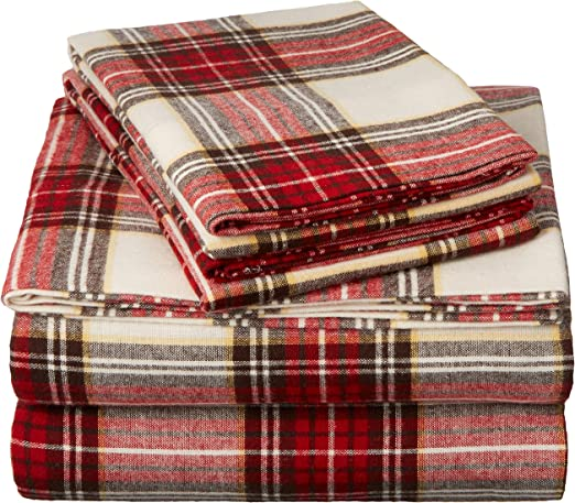 Amazon Com Pinzon Plaid Flannel Bed Sheet Set Twin Xl Cream And Red Plaid Home Kitchen