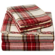 Pinzon Plaid Flannel Bed Sheet Set - King, Cream and Red Plaid
