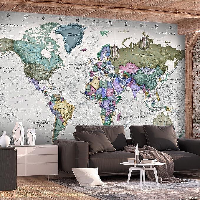 Fotomurale Mappa del Mondo k-A-0057-a-b murando Carta da parati 100x70 cm Fotomurali in TNT Murale alla moda Decorazione da Muro XXL Poster Gigante Design Carta per pareti