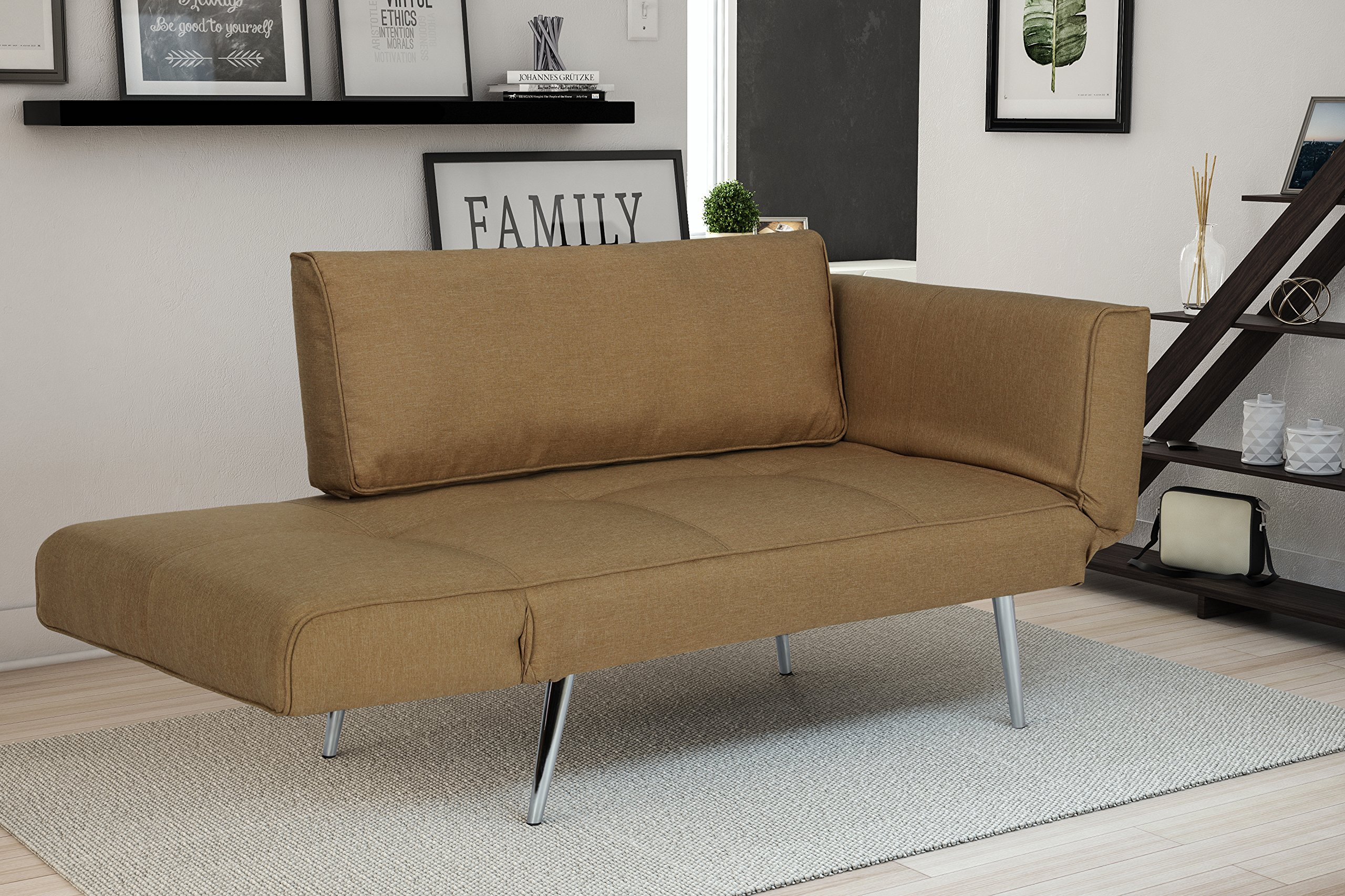 DHP Euro Sofa Futon Loveseat with Chrome Legs and Adjustable Armrests - Tan by DHP (Image #4)