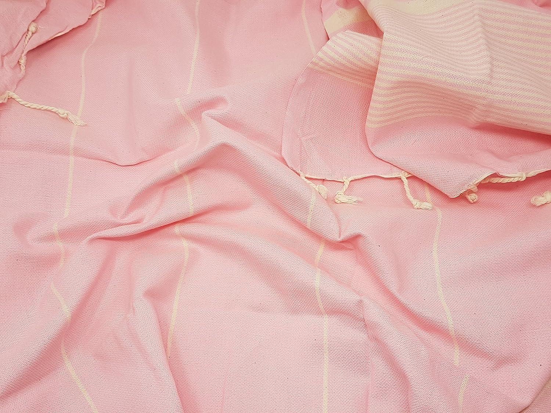 bella casa HERIKE Hamamtuch Saunatuch Pestemal Fouta Strandtuch Badetuch Handtuch Baumwolle Backpacker 100x180 cm Pink