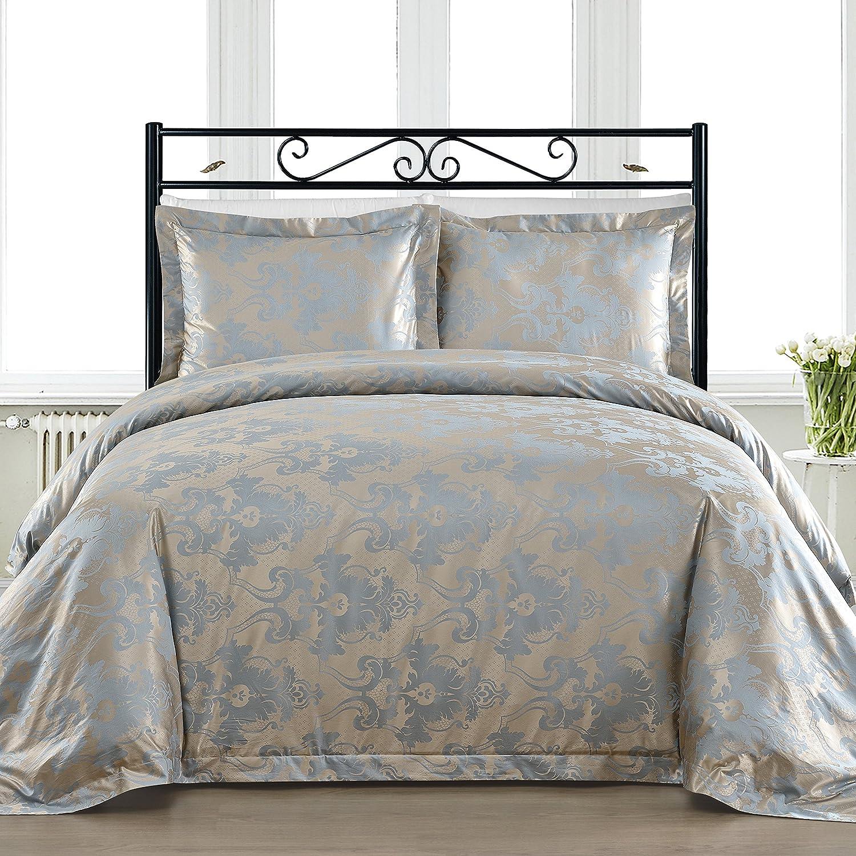 Comfy Bedding Cotton Bocade 3 Pieces Duvet Cover Set (King, Blue