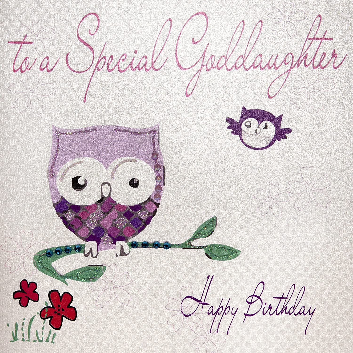 White Cotton Cards Owl To A Special Goddaughter Happy Birthday – Goddaughter Birthday Cards