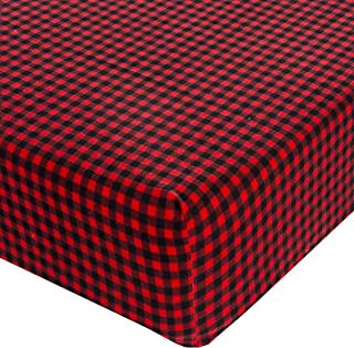 product image for Glenna Jean Crib Fitted Sheet, Flannel Check, Red/Black, Mini
