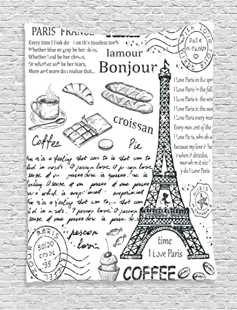 Amazoncom Ambesonne Paris Decor Tapestry Traditional Famous