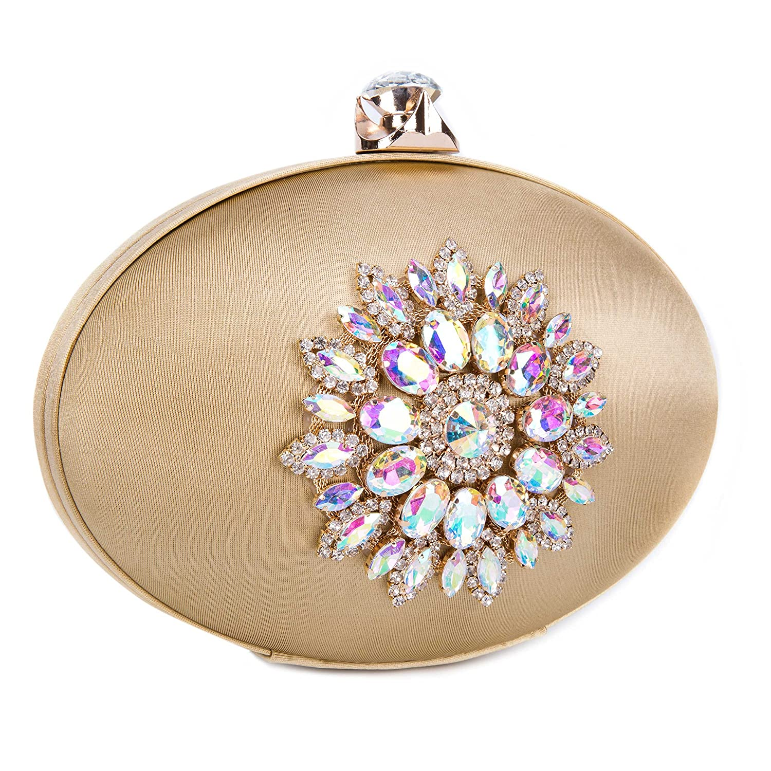 Chichitop Womens Vintage Floral Crystal Oval Large Evening Bags