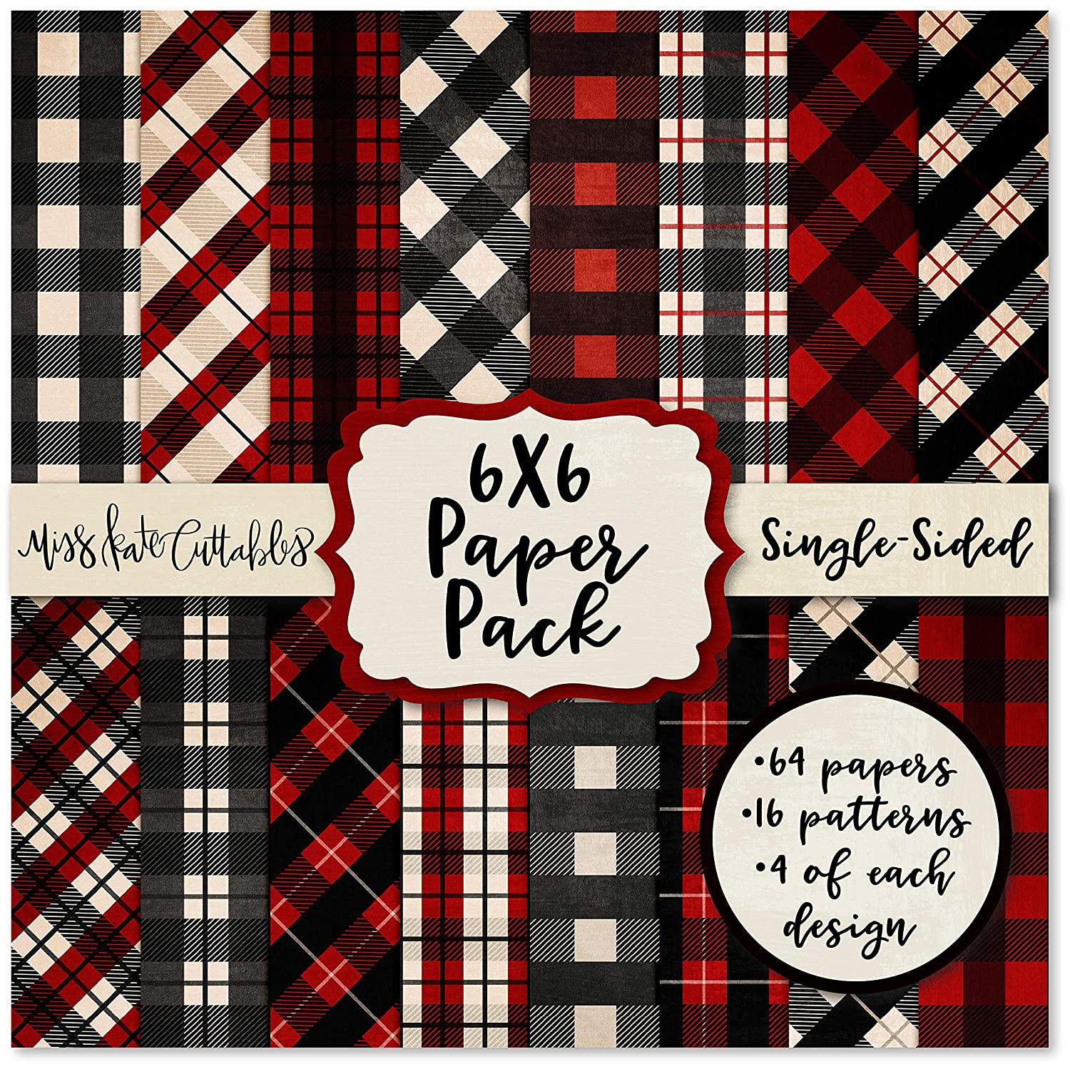 6X6 Pattern Paper Pack - Red & Black Buffalo Check - Card Making Scrapbook Specialty Paper Single-Sided 6'x6' Collection Includes 64 Sheets - by Miss Kate Cuttables