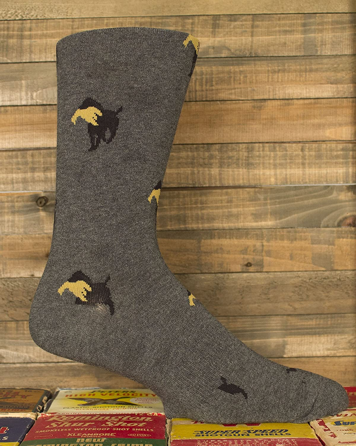 Brown Dog Hosiery - Mens Gray Dress Sock with Lab Retrieving Design 3 Pack Size 10-13