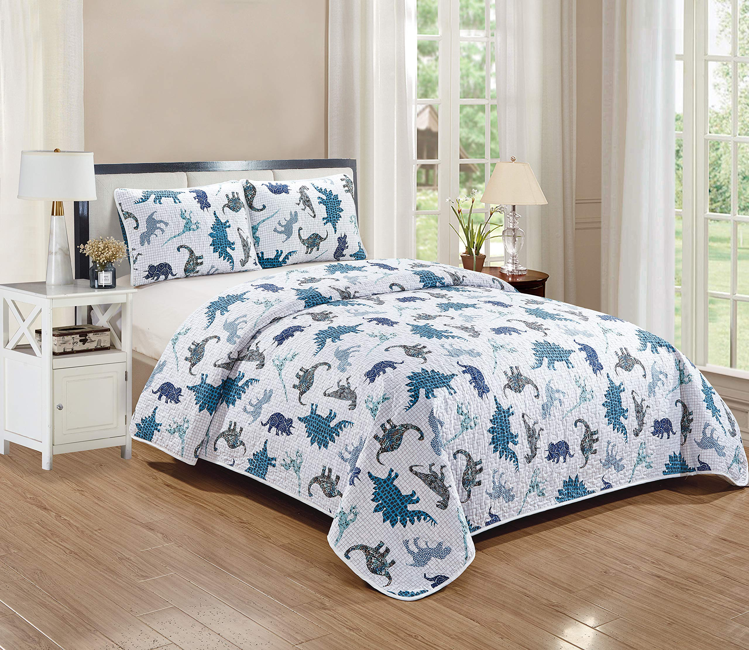 Kids Zone Home Linen Dino Kingdom 3pc Full/Queen Quilted Bedspread for Boys/Teens Dinosaurs Blue Black. by Kids Zone Home Linen