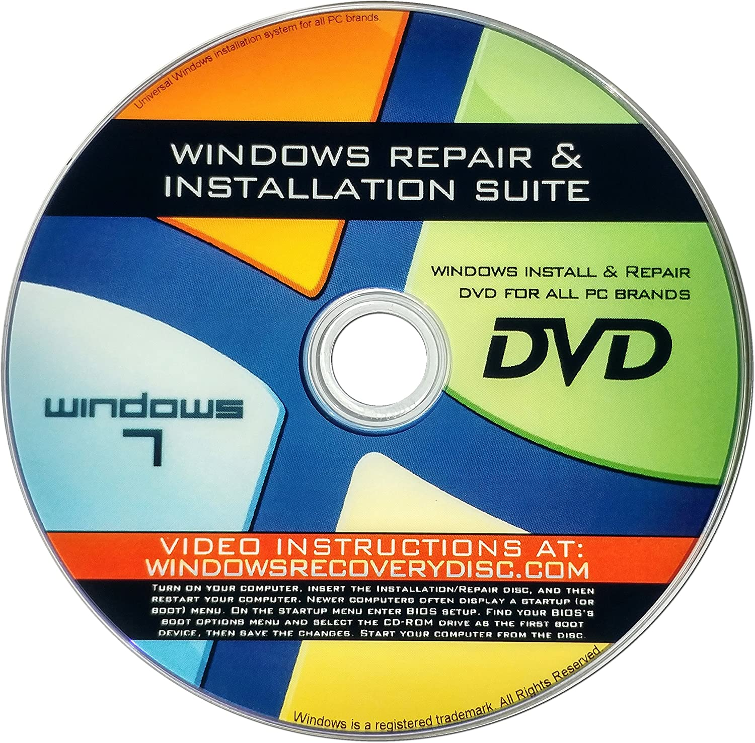 Recovery, Repair & Re-install disc compatible w/ All Versions of Windows 7 32/64 bit & PC makers