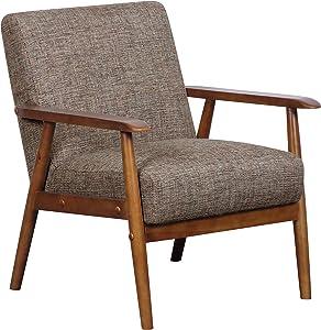 "Pulaski Home Comfort Mid Century Modern Wood Frame Accent Chair, 25"" x 28"" x 30.5"", Neutral Chestnut"