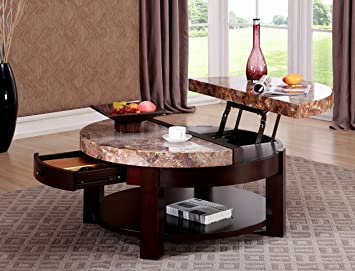 Superieur GTU Furniture Round Faux Marble Top Lift Top Cocktail Coffee Table