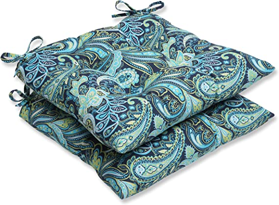 Pillow Perfect Outdoor Pretty Paisley Rounded Corners Seat Cushion Navy Set of 2