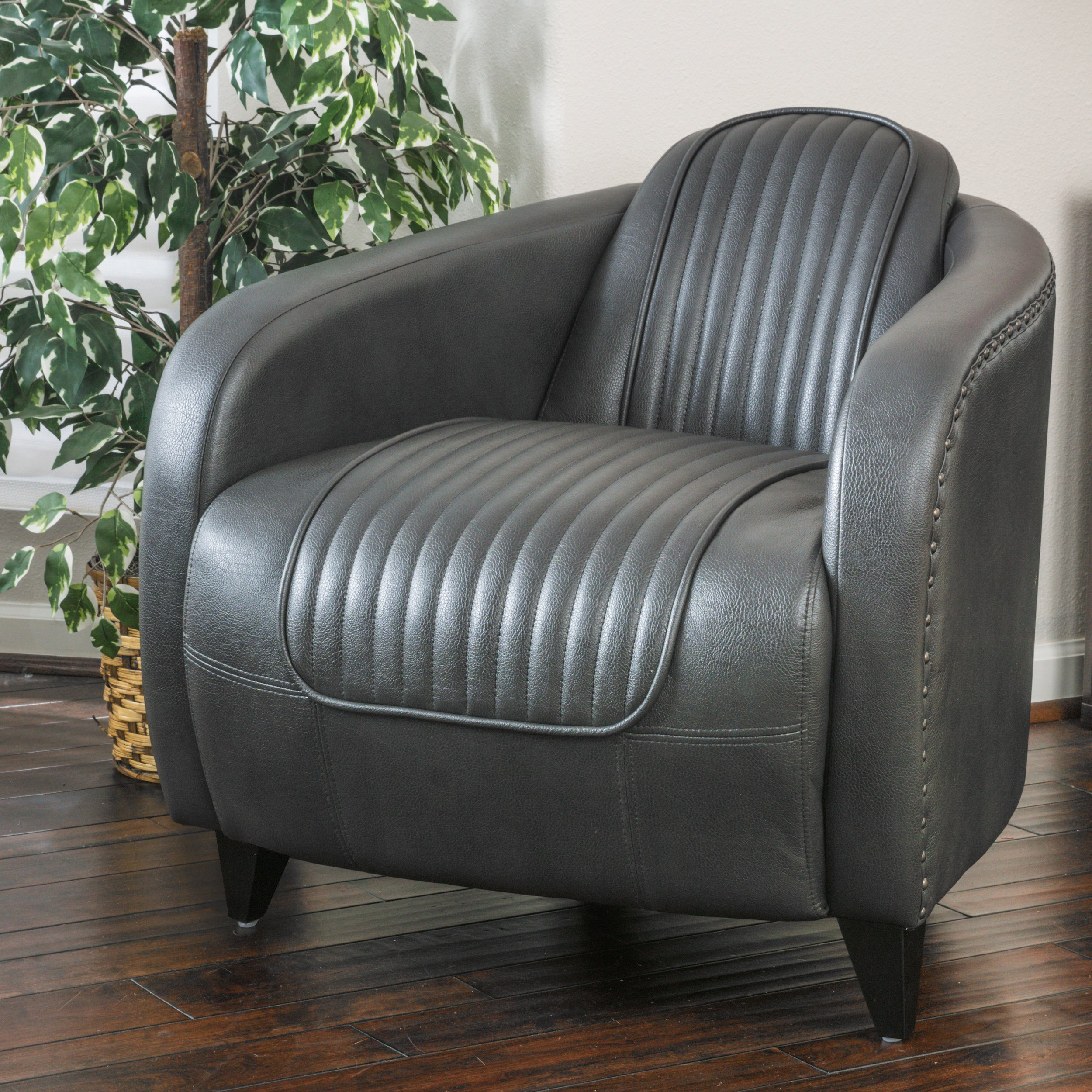 Christopher Knight Home 296289 Lemay Channeled Leather Club Chair, Roman Grey by Christopher Knight Home