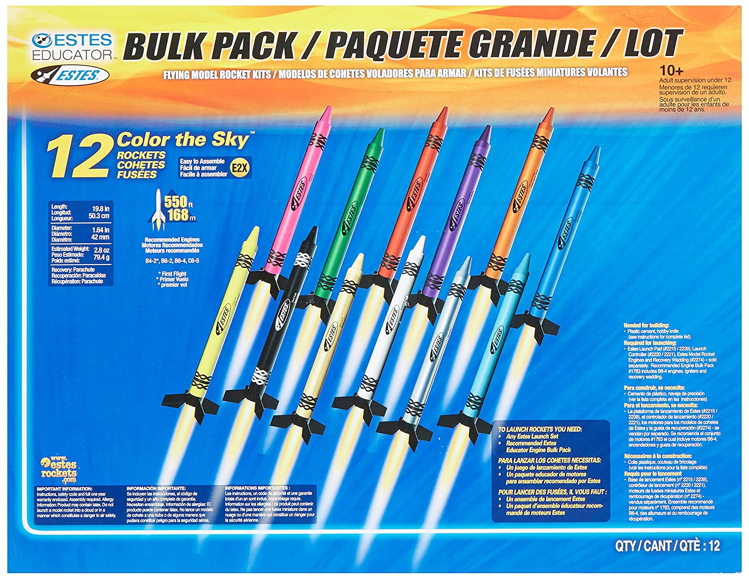Bulk model rockets wholesale - Estes 1715 Color The Sky Bulk Pack Grade 3 To 12 Pack Of 12 Toy Remote Controlled Vehicles Amazon Com Industrial Scientific
