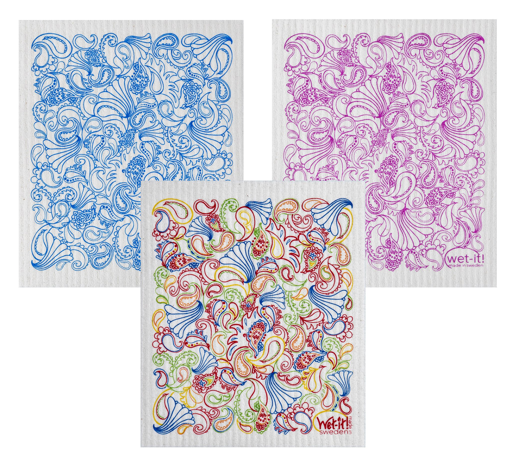 Wet-It Swedish Dishcloth Set of 3 (Paisley in Blue, Pink and Multicolors)
