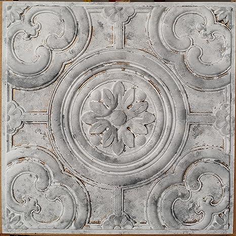 Amazon Com Plastdecor Distressed Tin Ceiling Tile Faux Finishes White Gray Colour Pl50 Pack Of 10pcs Home Kitchen