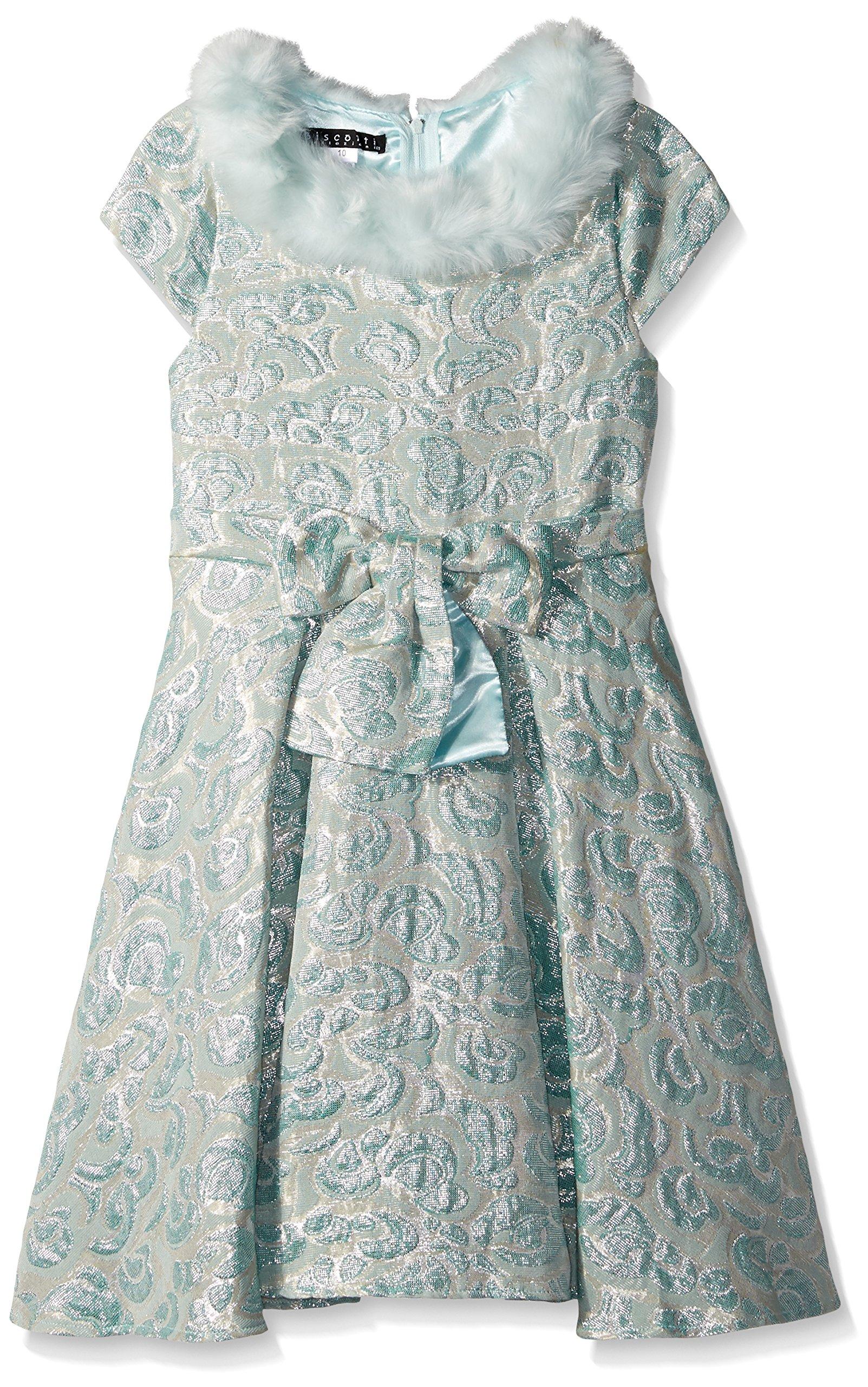 Biscotti Big Girls' Charmed Life Dress with Faux Fur, Aqua, 10