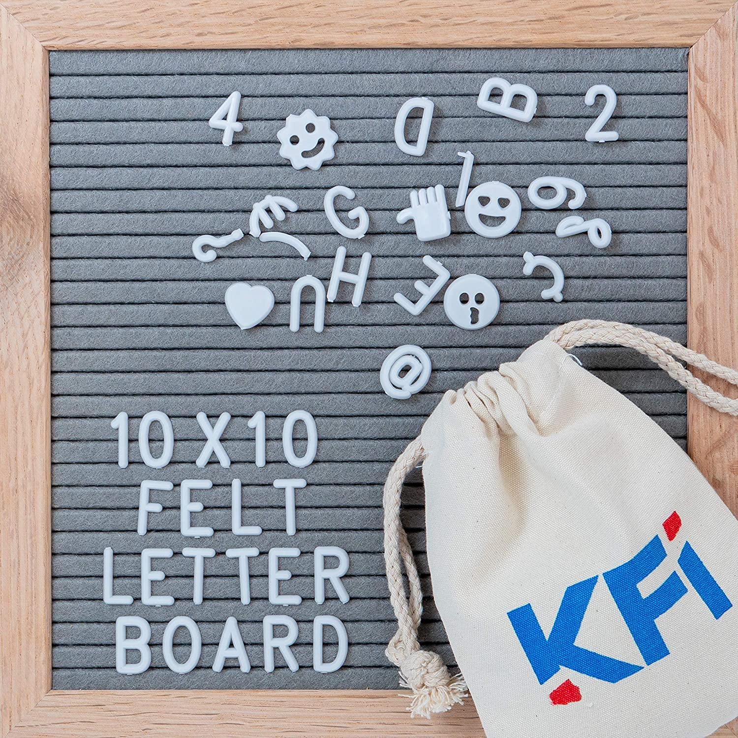 Changeable Letter Board with Wooden Easel - Felt Letter Board 10x10 340 Letters/Numbers/Characters/Emojis/Wall-Mount, Rustic Oak Frame, Drawstring Letter Pouch, Great Substitute for White Boards KF Industries USA LLC.