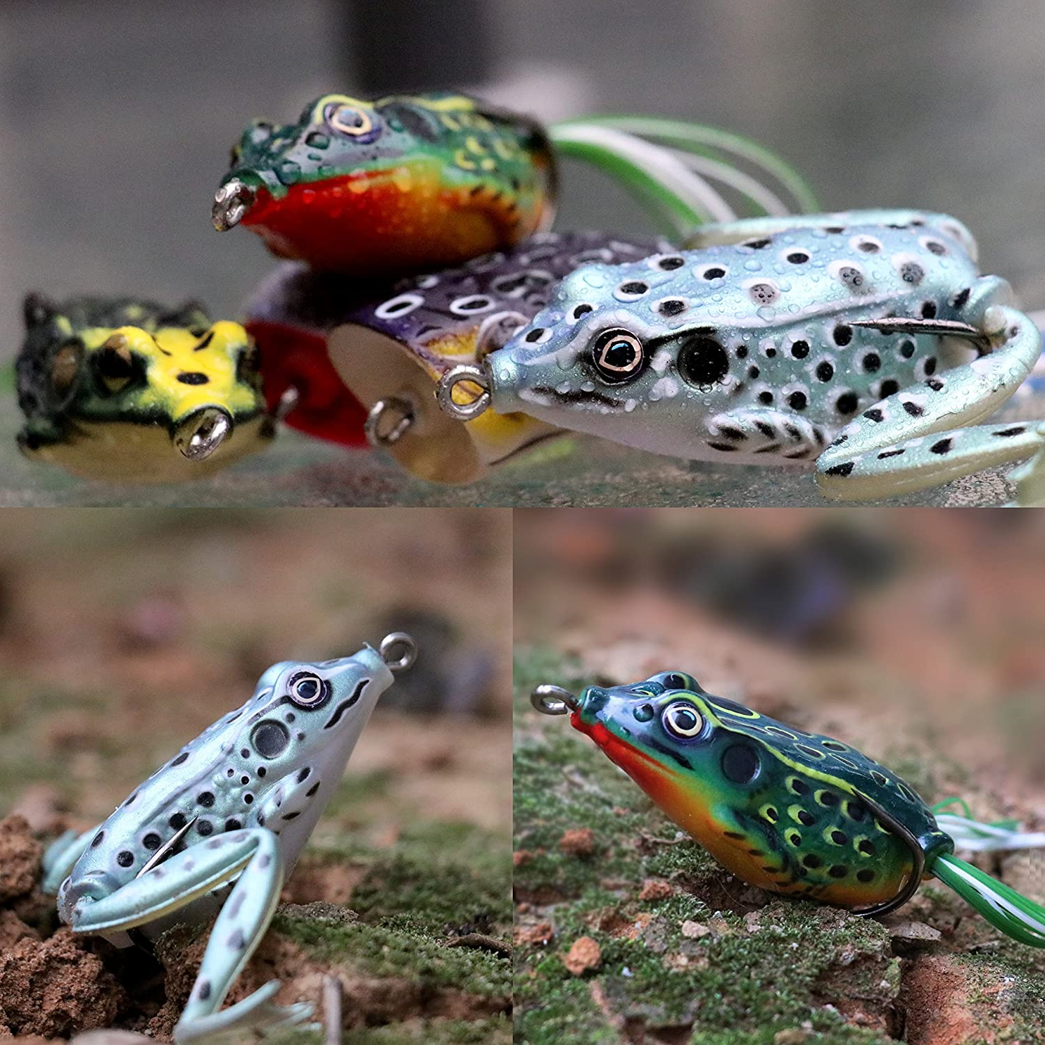 amazon com runcl topwater frog lures soft fishing lure kit with