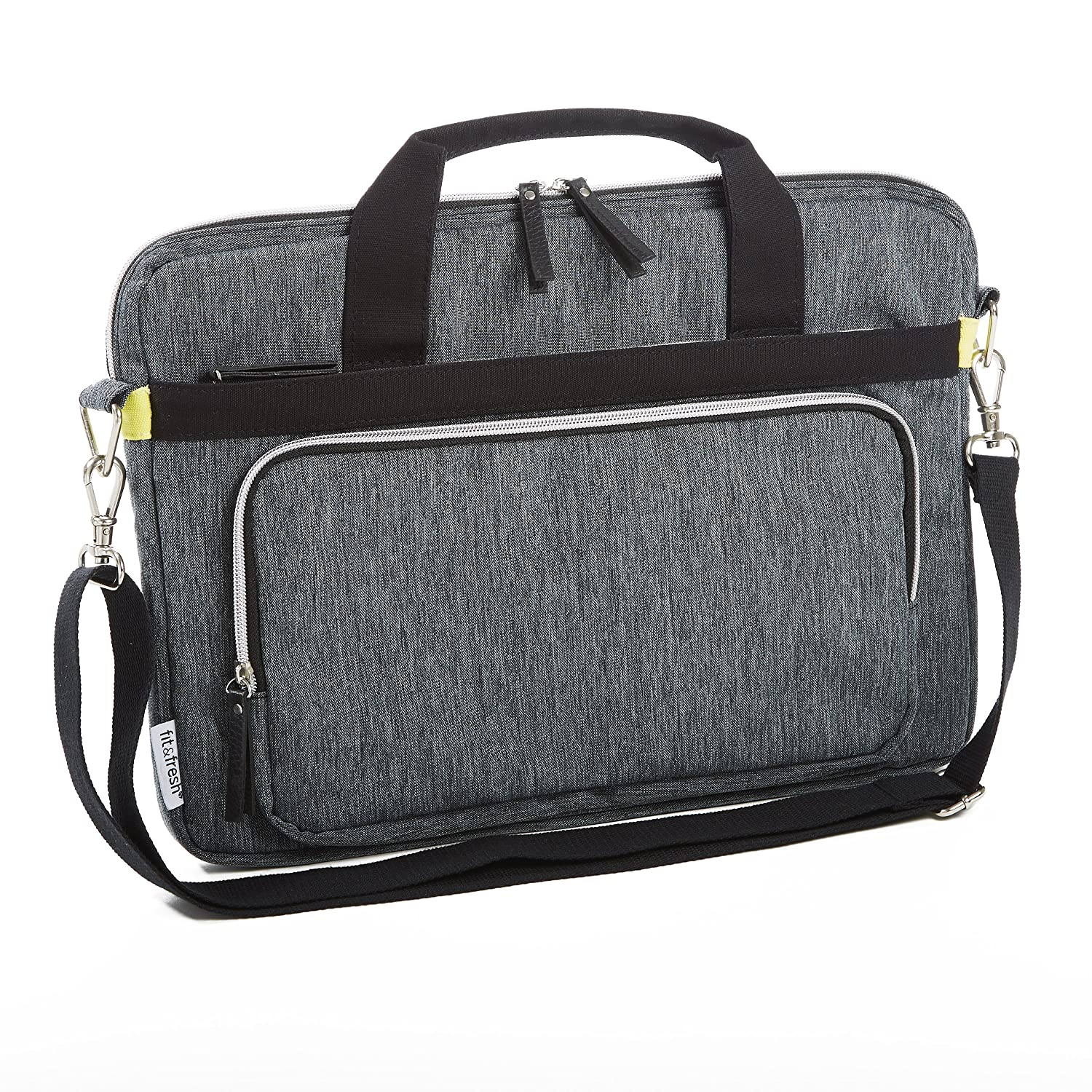 """lovely Fit & Fresh Messenger-Style Protective Laptop Case with Shoulder Strap, Handles & Pocket, fits Apple/Microsoft/Acer/Samsung/Google/Lenovo with up to 15.6"""" Displays, Space Dyed, Gray"""