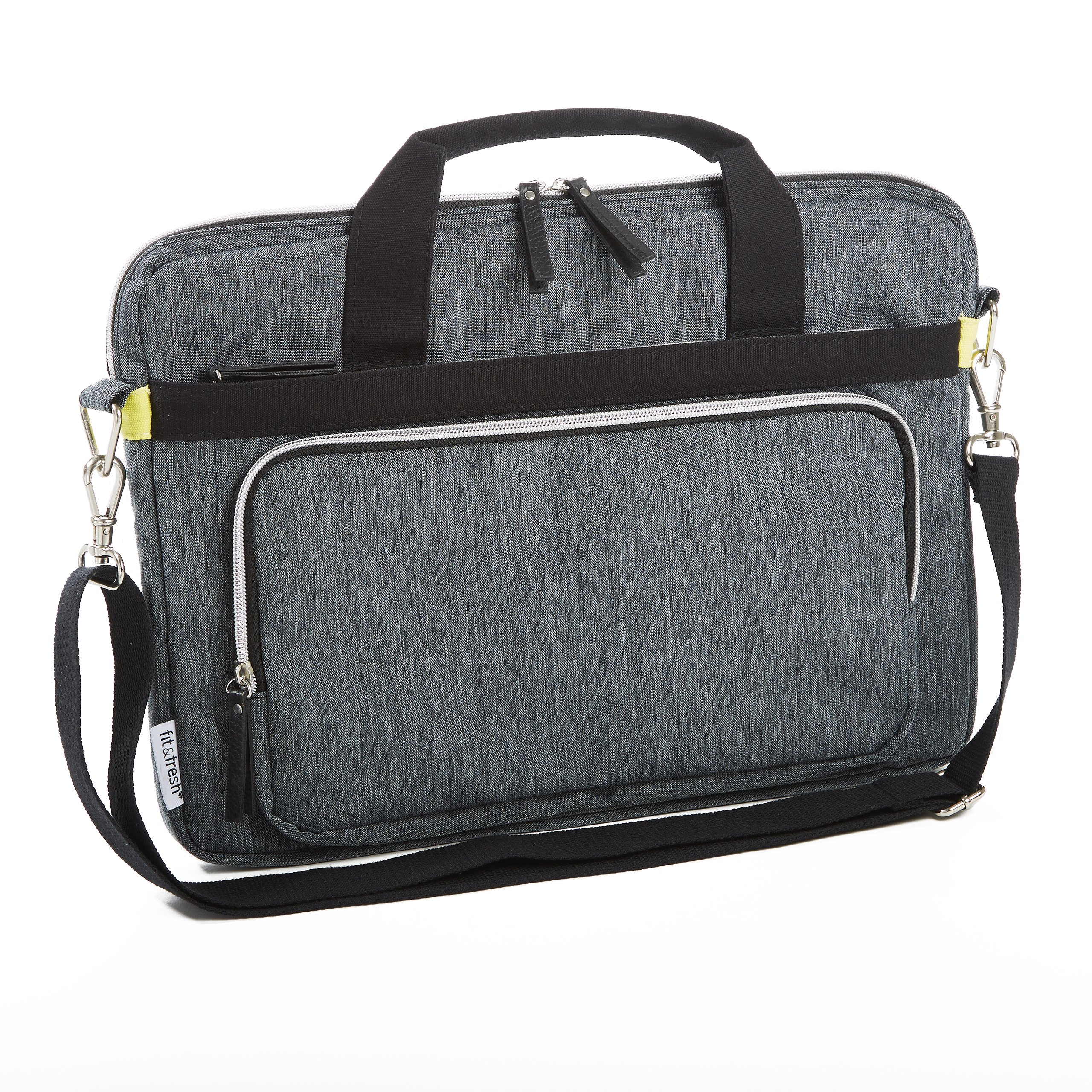 Fit & Fresh Messenger-Style Protective Laptop Bag with Shoulder Strap, Handles & Pocket, fits Apple/Microsoft/Acer/Samsung/Google/Lenovo with up to 15.6'' Displays, Space Dyed, Gray