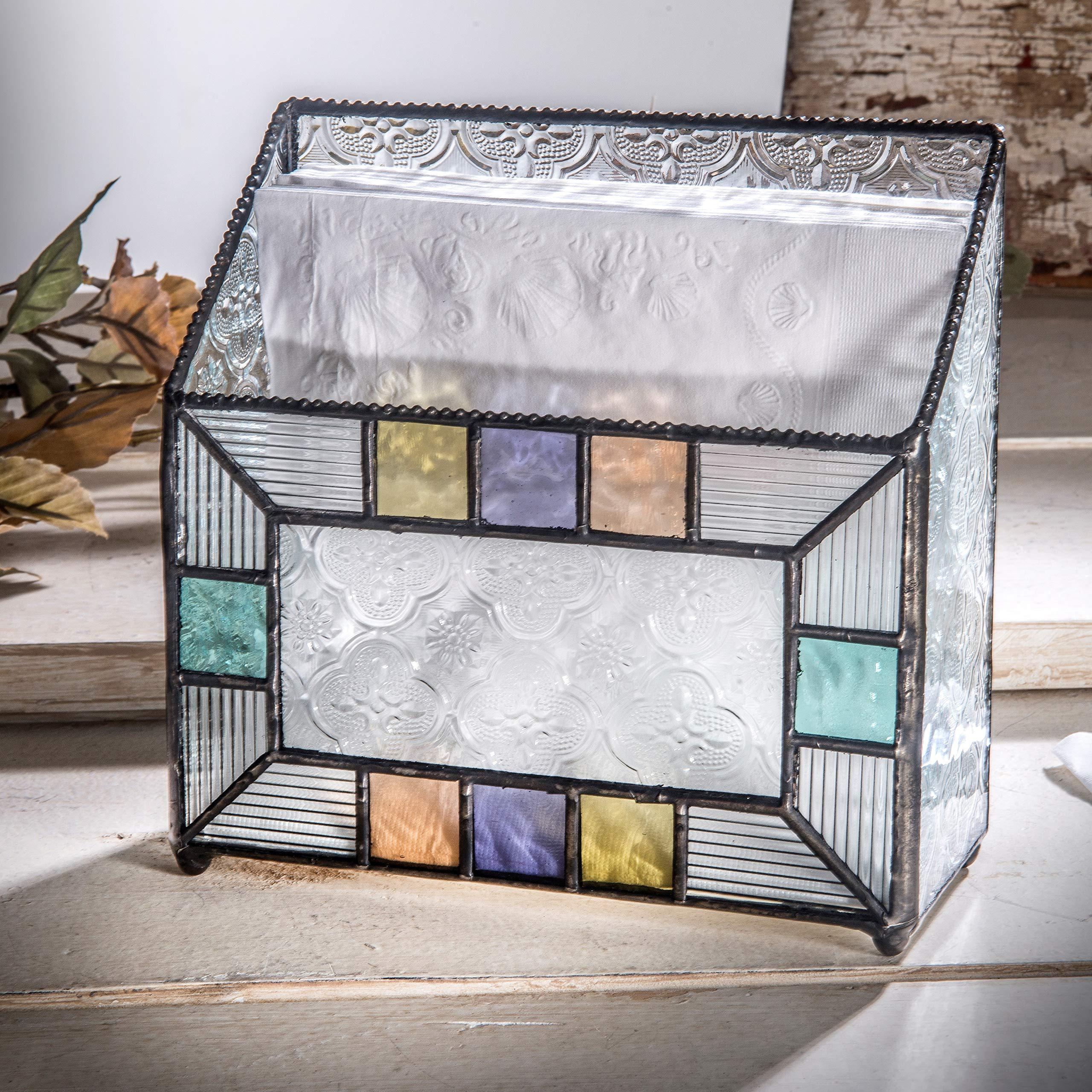 J Devlin Dis 203 Napkin Holder Kitchen Decor Vintage Glass Napkin Tray by J Devlin Glass Art