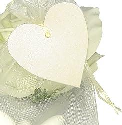 EinsSein 50x Geschenkanhänger Herz Creme schimmernd Geschenkkärtchen Tischkarten Hochzeit Party