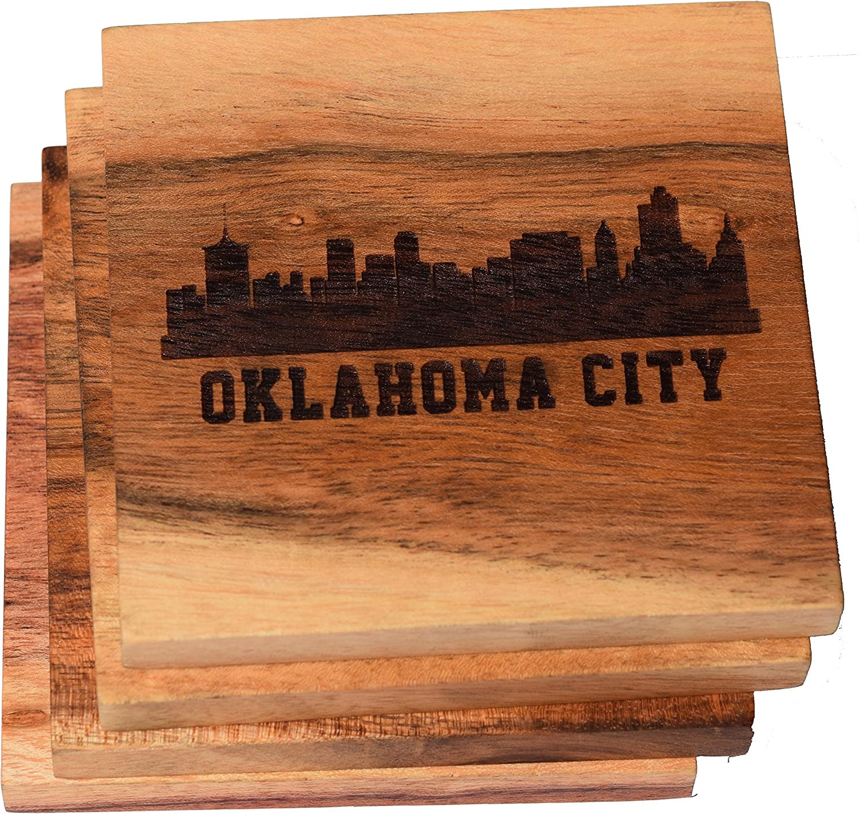 Oklahoma City Coasters, Oklahoma City Skyline Drink Coasters – Oklahoma City Gifts & Souvenirs, Engraved Coasters with Oklahoma Design – Oklahoma City Themed Gifts, Oklahoma Gifts (Set of 4)
