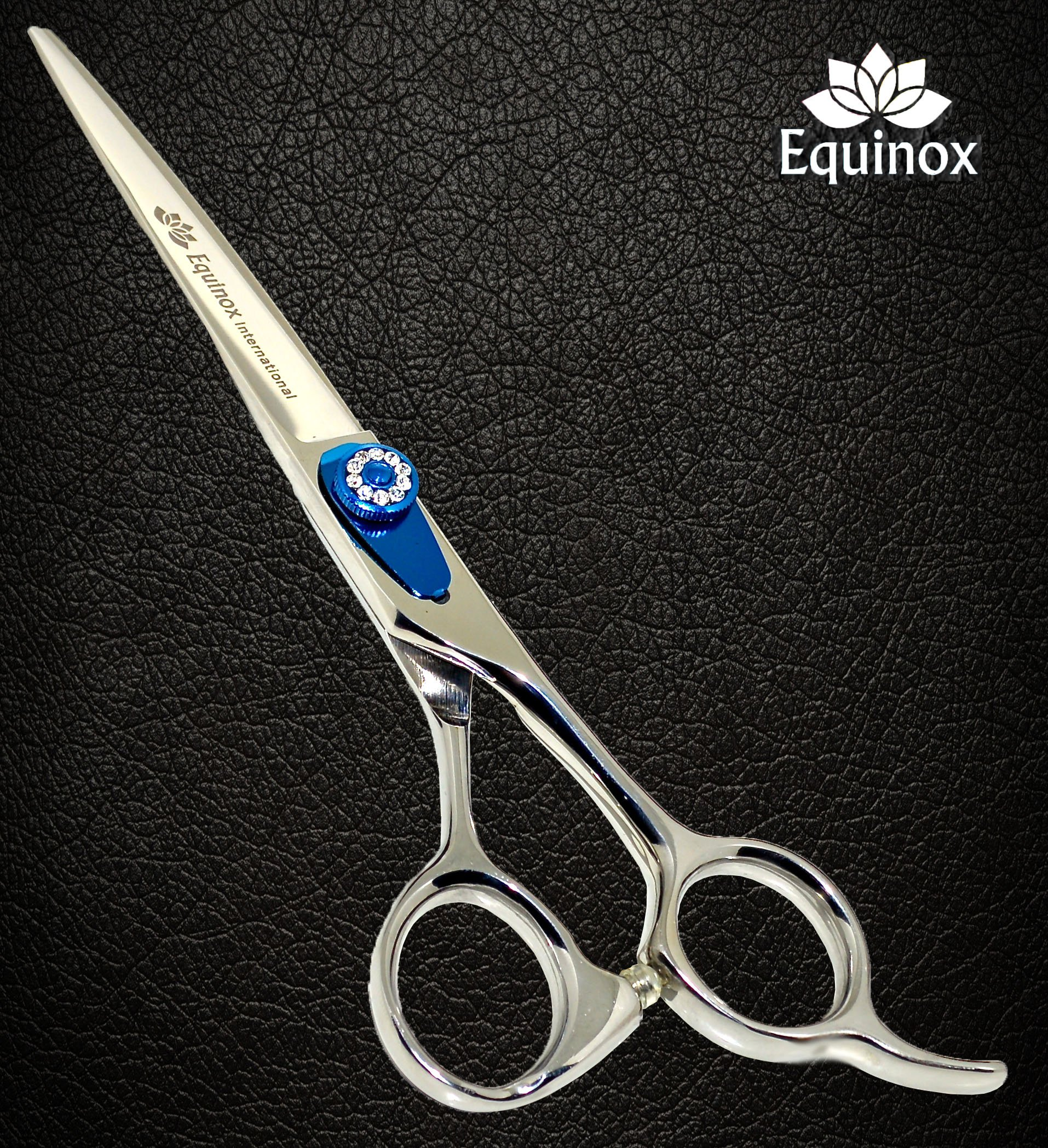 Equinox Professional Razor Edge Series - Barber Hair Cutting Scissors/Shears - 6.5'' Overall Length - Beautiful White Diamond Stones with Blue Chromium Fine Adjustment Tension Screw by Equinox International (Image #2)