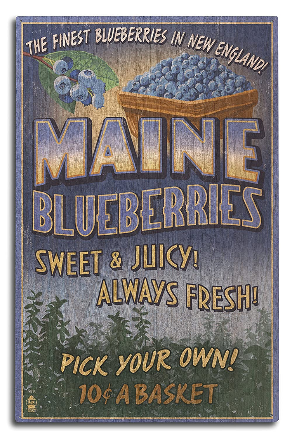 Lantern Press Maine - Blueberries Vintage Sign (10x15 Wood Wall Sign, Wall Decor Ready to Hang)