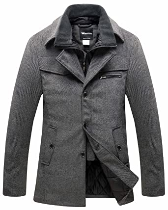 77f047423 Wantdo Men's Wool Blend Pea Coat Windproof Thick Winter Jacket with Quilted  Bib