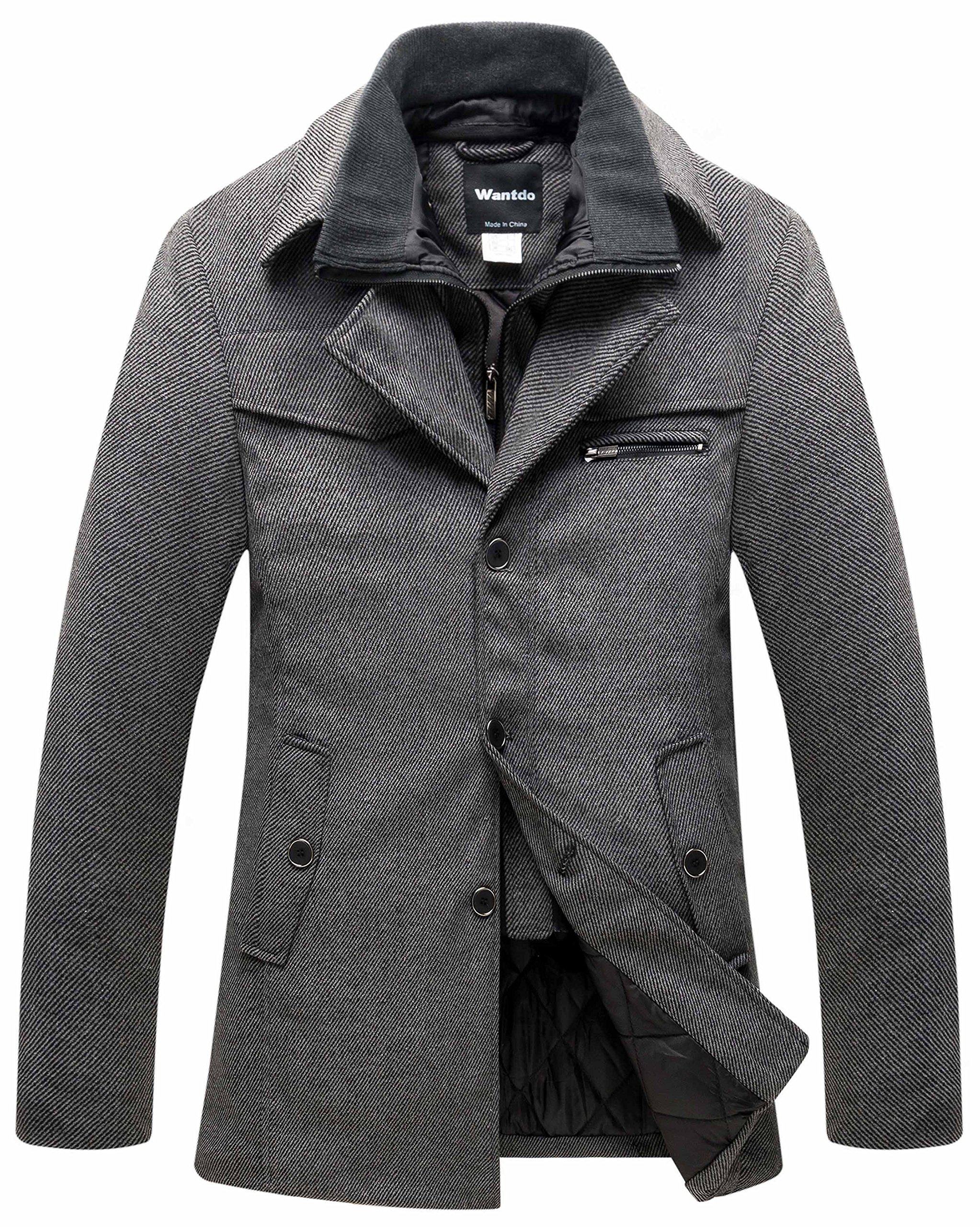 Wantdo Men's Wool Pea Coat Windproof Thick Winter Jacket with Quilted Bib US Large Grey