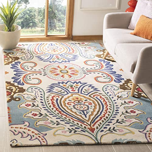 Safavieh Bella Collection BEL118A Handmade Ivory and Blue Premium Wool Area Rug 5 x 8