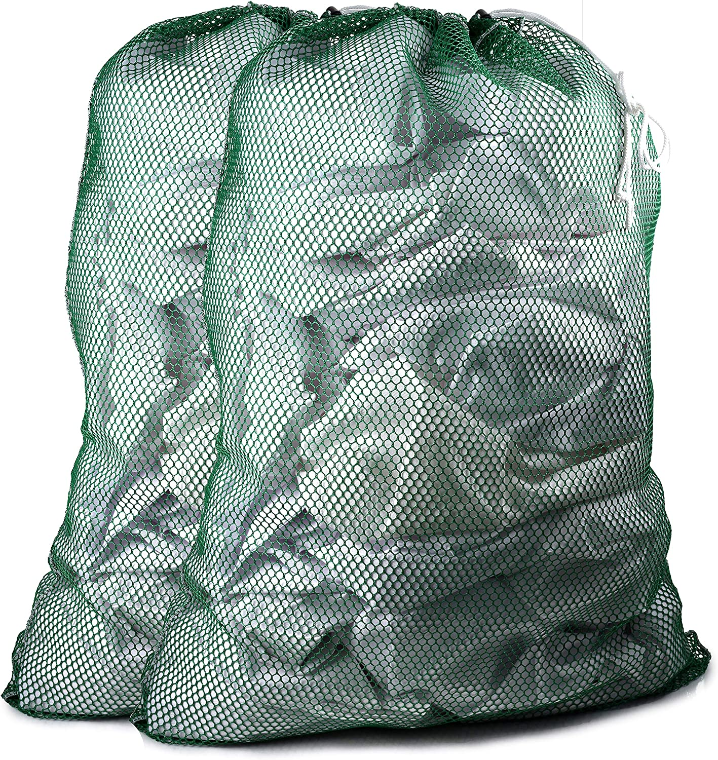 """Commercial Mesh Laundry Bag - Sturdy Mesh Material with Drawstring Closure. Ideal Machine Washable Mesh Laundry Bag for Factories, College, Dorm and Apartment Dwellers. (24"""" x 36""""   Green   2-Pack)"""