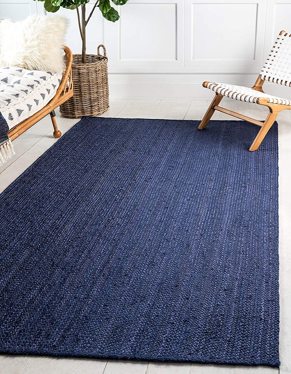 Navy bluee 2' x 3' Rectangle Unique Loom Braided Jute Collection Hand Woven Natural Fibers Navy bluee Runner Rug (3' x 6')