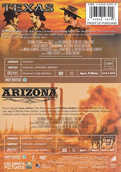 Amazon Com Western Legends Double Feature Texas Arizona William Holden Gleen Ford Jean Arthur George Marshall Wesley Ruggles Movies Tv