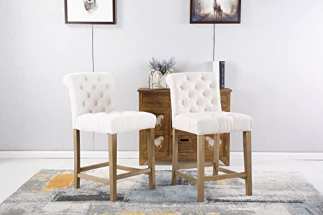 Super Roundhill Furniture Carlisle Counter Height Button Tufted Solid Wood Bar Stools Set Of 2 Tan Uwap Interior Chair Design Uwaporg