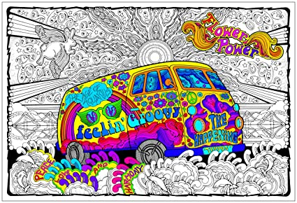 Stuff2Color Love Bus - Giant 22 X 32.5 Inch Line Art Coloring Poster (Great  for Family Time, Adults, Kids, Classrooms, Care Facilities and Group ...