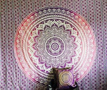 Bazzaree Couvre Lit Motif Indien Hippie Boheme Violet