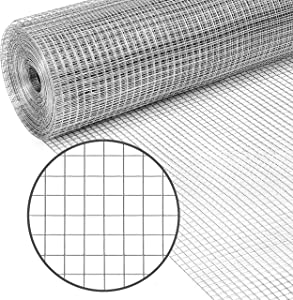 PS Direct Hardware Cloth - 24 Inch x 5 Foot Multipurpose Galvanized Mesh – 1/4 Inch Square Openings, Great for Chicken Coop, Gutter Guard Craft Projects and Garden Use, 23 Gauge, 1 Roll