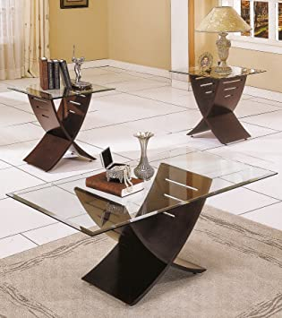 Amazoncom Steve Silver Cafe 3Pack Espresso Coffee Table and End