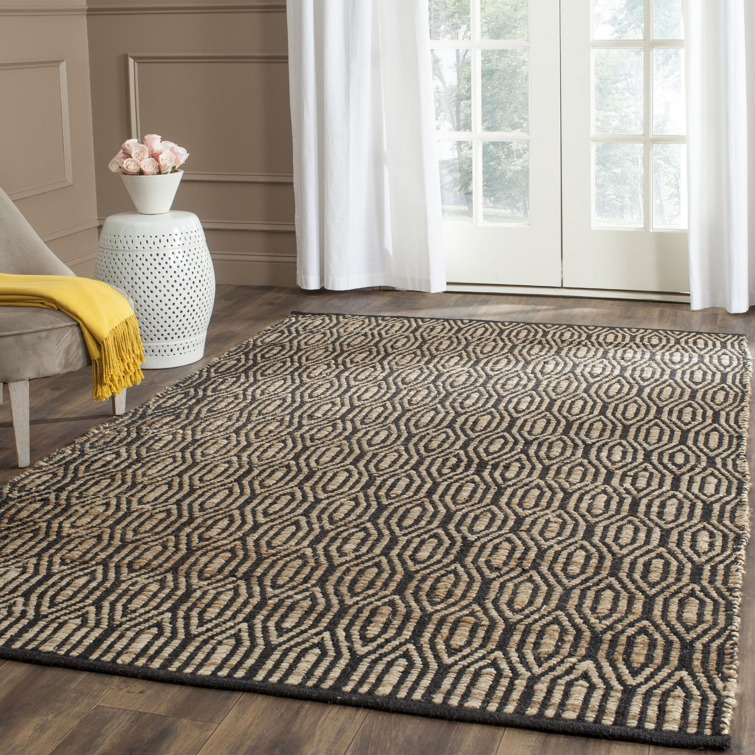 Safavieh Cape Cod Collection CAP822A Hand Woven Geometric Black and Natural Jute and Cotton Square Area Rug (6' Square) by Safavieh